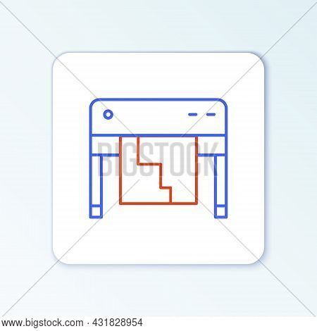 Line Plotter Icon Isolated On White Background. Large Format Multifunction Printer. Polygraphy, Prin