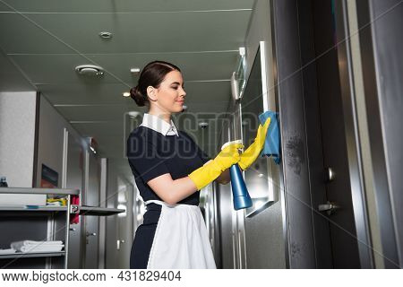 Happy Chambermaid In Rubber Gloves Holding Holding Spray Bottle And Rag Near Door In Hall