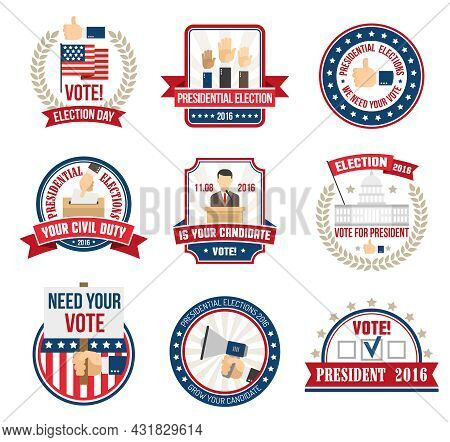 Color Labels And Emblems For Agitating People Vote In Presidential Election In 2016 Isolated Vector