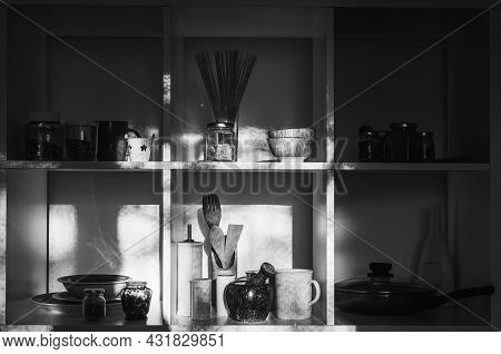 Modern Kitchen Interior. Open Cupboard With Clean Dishes. Open Shelves In The Kitchen. Well Organize