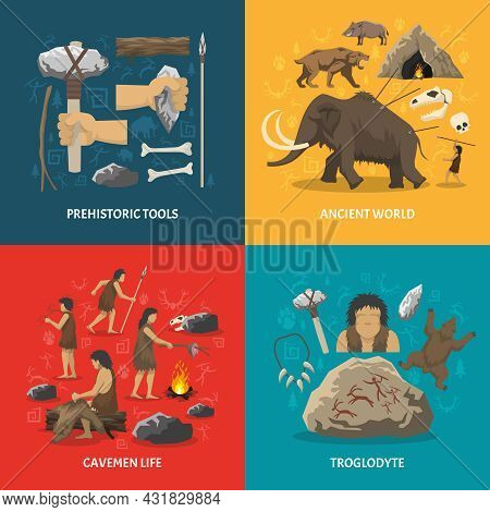 Color Flat Composition With Title Depicting Prehistoric Tools Caveman Life Ancient World Troglodyte