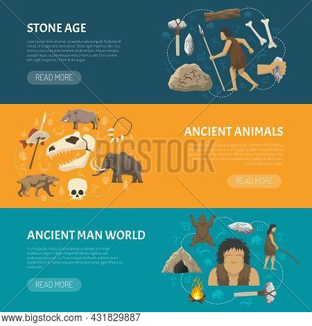 Horizontal Banners About Life Ancient Man And Animals In Prehistoric Stone Age Isolated Vector Illus