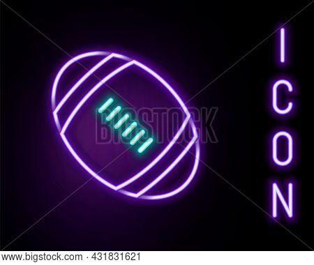 Glowing Neon Line American Football Ball Icon Isolated On Black Background. Rugby Ball Icon. Team Sp