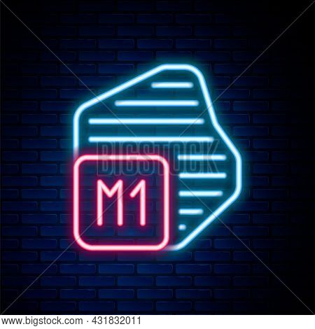 Glowing Neon Line Processor Icon Isolated On Brick Wall Background. Cpu, Central Processing Unit, Mi