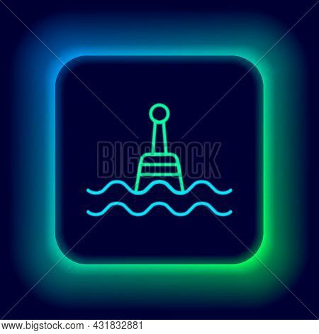 Glowing Neon Line Floating Buoy On The Sea Icon Isolated On Black Background. Colorful Outline Conce