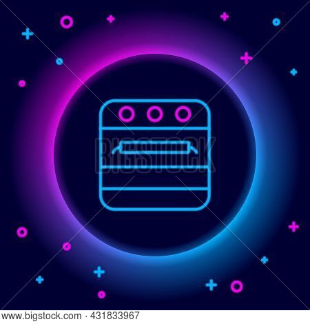 Glowing Neon Line Oven Icon Isolated On Black Background. Stove Gas Oven Sign. Colorful Outline Conc