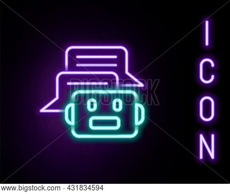 Glowing Neon Line Chat Bot Icon Isolated On Black Background. Chatbot Icon. Colorful Outline Concept