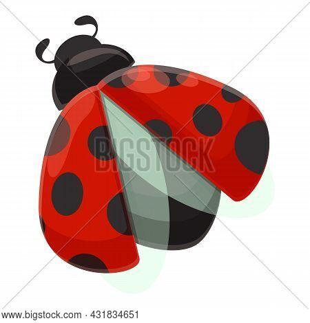 Flying Ladybug Icon Cartoon Vector. Insect Ladybird. Garden Beetle
