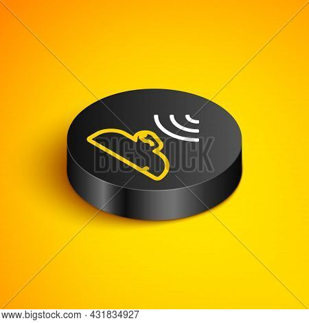 Isometric Line Ear Listen Sound Signal Icon Isolated On Yellow Background. Ear Hearing. Black Circle