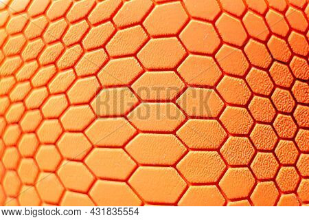 Orange Hexagon Pattern Background Is A Rubber Decorated Closeup.orange Hexagon Abstract Background T