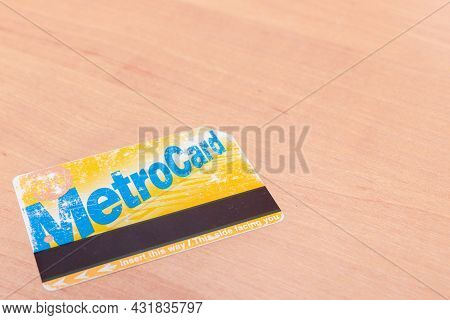Used A Lot Passenger New York Metro Card On The Table. Metro Card New York City Subway Paying Fare T