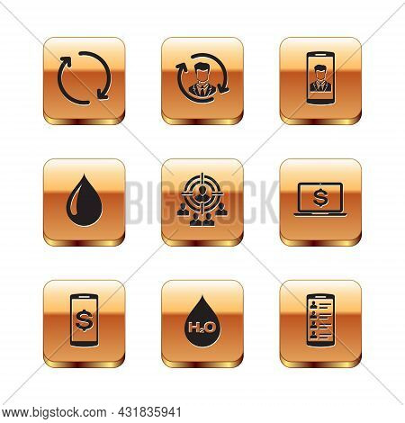 Set Refresh, Smartphone With Dollar, Water Drop H2o, Marketing Target Strategy, And Contact Icon. Ve
