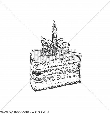 Birthday Cake Sweets Hand Drawn Doodle Vector Illustration. Confectionary Sketch Style Drawing. Isol