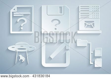 Set Open In New Window, Mail Server, Ufo Abducts Cow, Folder Tree, Unknown Document And Icon. Vector