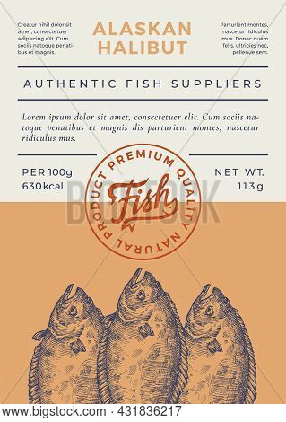 Ocean Fish Abstract Vector Packaging Design Or Label. Modern Typography Banner, Hand Drawn Alaskan H
