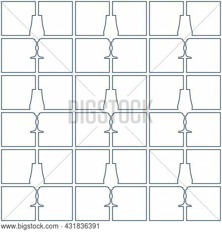 Seamless Pattern Abstract Image Glass Liquor In Square Form. Contour Line Art In Flat Style. Restaur