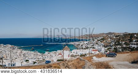 Mykonos Town, Greece - September 24, 2019: High Angle Panoramic View From The Viewpoint Of Hora (als