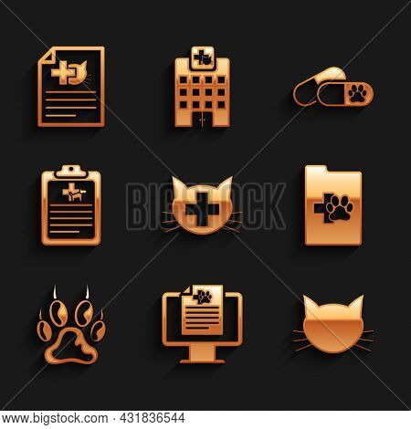 Set Veterinary Clinic, Clinical Record Pet On Monitor, Cat, , Paw Print And Icon. Vector