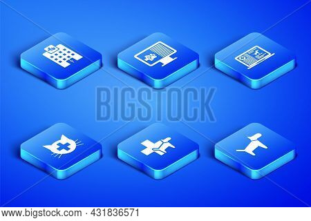 Set Dog, Veterinary Medicine Hospital, Clinic, , Clinical Record Pet On Monitor And Dog Laptop Icon.