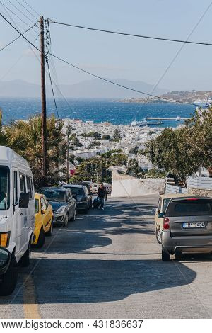 Mykonos Town, Greece - September 24, 2019: Row Of Cars Parked On A Side Of The Road In Hora (also Kn