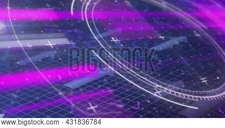 Image of scope scanning, binary coding and blue arrows on grid background. Digital interface global connection and communication concept digitally generated image.
