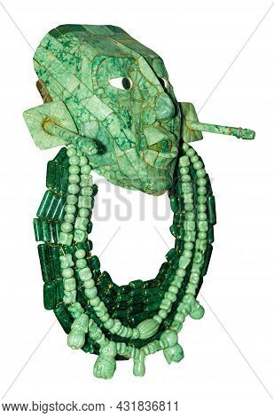 Native Mayan Ceremonial Mask Made Of Jade