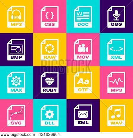 Set Wav File Document, Mp3, Xml, Doc, Raw And Bmp Icon. Vector