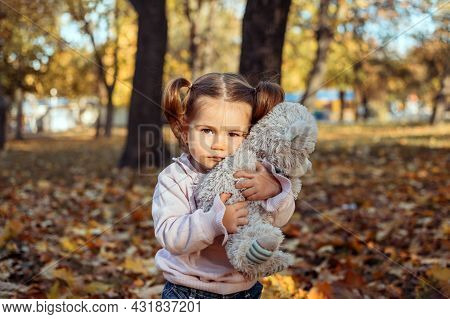 Cute Toddler Baby Girl With Soft Toy Playing Outdoors In Fall Park. Little Girl In The Autumn Park.