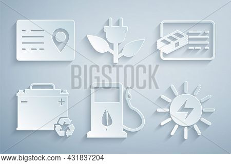 Set Bio Fuel With Fueling Nozzle, Financial Document, Car Battery Recycle, Solar Energy Panel, Elect