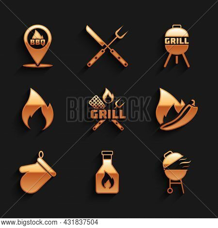 Set Crossed Fork And Spatula, Ketchup Bottle, Barbecue Grill, Hot Chili Pepper Pod, Oven Glove, Fire