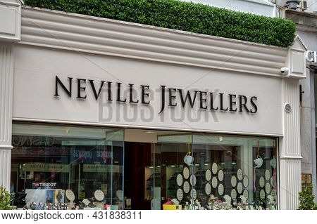 Cork, Ireland- July 14, 2021: The Sign For Neville Jewellers In Cork City