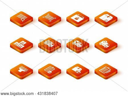 Set Scanner Scanning Bar Code, Verification Of Delivery List, Cardboard Box With Traffic, Free Servi