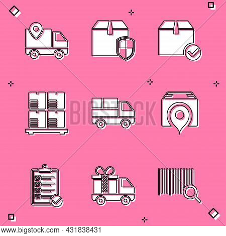 Set Delivery Tracking, Box Security Shield, Package With Check Mark, Cardboard Boxes On Pallet, Truc