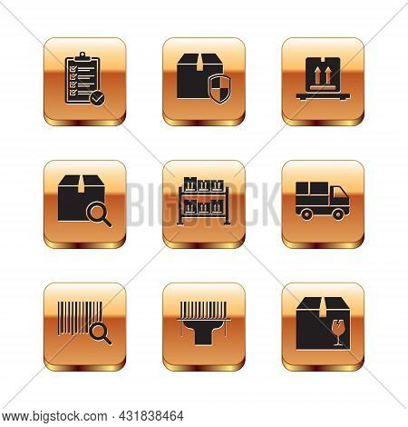Set Verification Of Delivery List, Search Barcode, Scanner Scanning, Warehouse, Package, Cardboard B