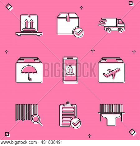 Set Cardboard Boxes On Pallet, Delivery Truck In Movement, Package Umbrella, Mobile App Tracking, Pl