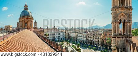 Panoramic View At Palermo From The Rooftop Of The Palermo Cathedral
