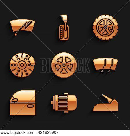 Set Car Wheel, Electric Engine, Handbrake, Windscreen Wiper, Door, Disk With Caliper, And Icon. Vect