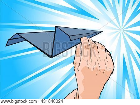 Close Up Cartooned Human Hand Holding Paper Plane On An Abstract Light Blue And White Background