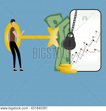 Macroeconomics, Investment Financial Businessmen Who Increase Capital And Profit.a Person Opens The