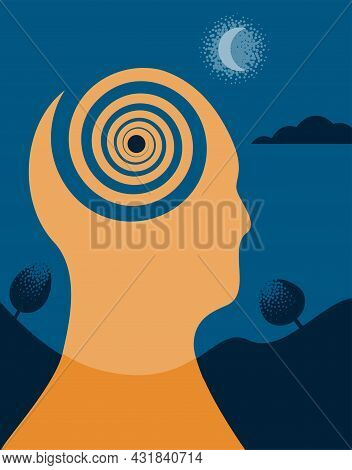 An Illustration Of A Person With Obsessive And Recurring Thinking. Vector Illustration.