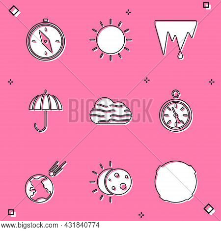Set Compass, Sun, Icicle, Umbrella, Fog And Cloud, Comet Falling Down Fast And Eclipse Of The Sun Ic
