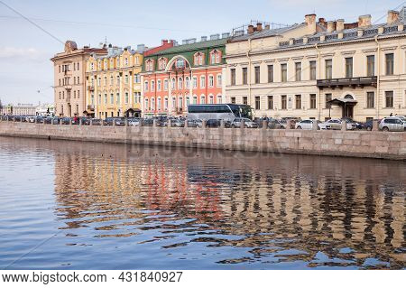 St. Petersburg, Russia - March 27, 2016: Fontanka River Embankment, Street View Of Saint-petersburg