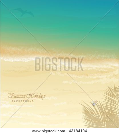 Summer Holidays Background - Sunny beach vector illustration, with dazzling sand and sea, palm tree shade and pebbles