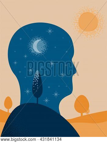 The Iner Worthe Silhouette Of A Person With A Night Landscape In Their Head Walking Outdoors In The