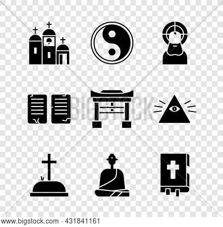 Set Church Building, Yin Yang, Jesus Christ, Tombstone With Cross, Buddhist Monk, Holy Bible Book, T