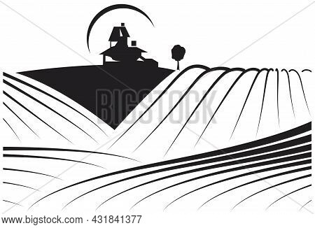 Illustration About Farmlands With A Building In The Background. May Be A Winery And Its Vineyards. I