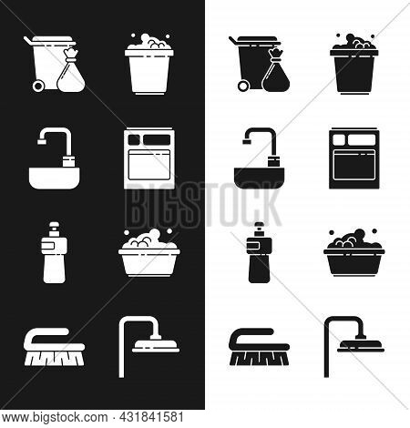 Set Kitchen Dishwasher Machine, Washbasin With Water Tap, Trash Can And Garbage Bag, Bucket Soap Sud