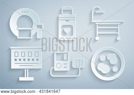 Set Blood Pressure, Operating Table, Eye Test Chart, Petri Dish With Bacteria, Organ Container And T