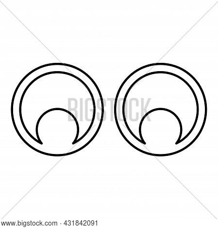 Eyes Look Concept Two Pairs Eye View Contour Outline Icon Black Color Vector Illustration Flat Style