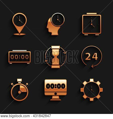 Set Old Hourglass, Clock On Monitor, Time Management, 24 Hours, Stopwatch, Digital Alarm Clock, Alar